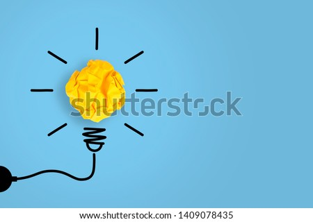 Idea Concepts Light Bulb with Crumpled Paper on White Background #1409078435