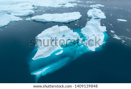 arctic icebergs in Greenland, drone view. #1409139848