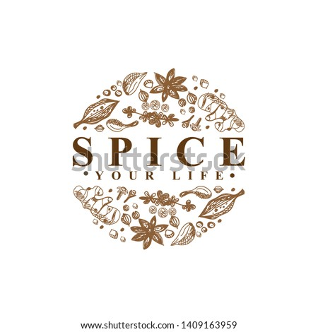 Spice Logo Type vector template Royalty-Free Stock Photo #1409163959