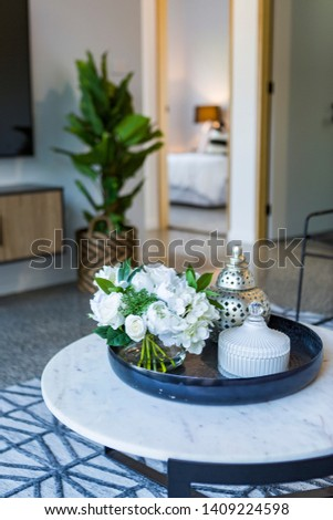 modern centrepiece on living room table #1409224598