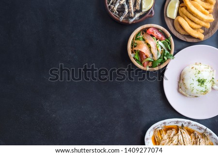 Mixed of fish ( cuttlefish, sardines, fried, salad with salmon) #1409277074