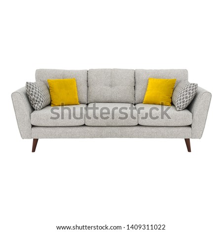 Gray Mid Back Linen Sofa Bed Isolated on White. Upholstered Loveseat with Armrests and Seat Cushion Front View. Three 3 Seater Couch with Four Yellow Scatter Pillows #1409311022