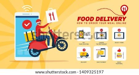 Fast food delivery app on a smartphone with delivery man on a scooter: how to order food online #1409325197