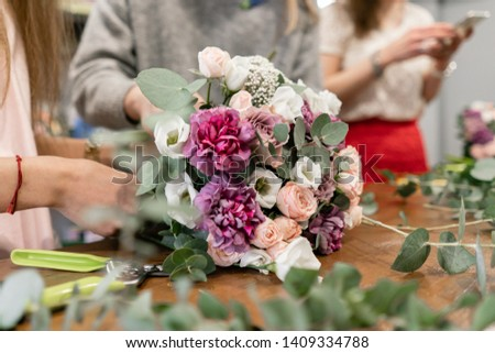 education in the school of floristry. Master class on making bouquets. Summer bouquet. Learning flower arranging, making beautiful bouquets with your own hands. Flowers delivery #1409334788