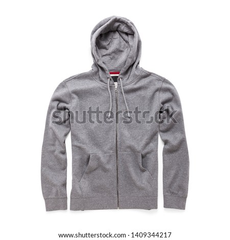 Heather Gray Hoodie Isolated on White . Full Zip Jumper with Hood Side View. Zippered Pullover Hoodies. Zipper Hooded Sweatshirt. Long Sleeve Clothing Apparel. Men Top Warm Zip Up Fleece Hoody Sweater #1409344217