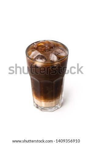 ice coffee with milk on isolated white background  #1409356910