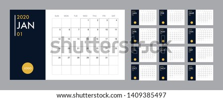 Calendar template for 2020 year. Planner diary in a minimalist style. Corporate and business calendar. 2020 calendar in minimal table and blue and yellow color event planner, Week Starts Sunday Royalty-Free Stock Photo #1409385497
