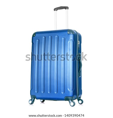 Blue Hardside Carry On Spinner Isolated on White Background. Zipperless Hand Luggage Bag. Vip Trolley Bag. Trolley Travel Bag. Spinner Trunk. Wheeled Luggage. Side View Modern Suitcase #1409390474