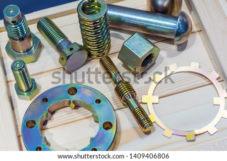Metal fasteners iassortment. Bolts, nuts, screws and washers. Metalware. Fasteners fittings. Metal fastening manufacturer. Hardware. #1409406806