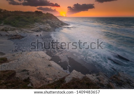 Sunset view from the Corniche between Hendaia and Saint Jean de Luz at the Basque Country. #1409483657
