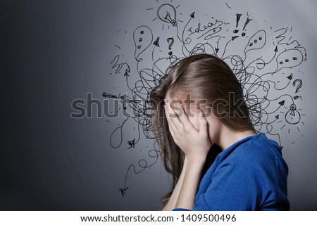 Sad young man with worried stressed face expression and brain melting into lines question marks. Obsessive compulsive, adhd, anxiety disorders concept #1409500496
