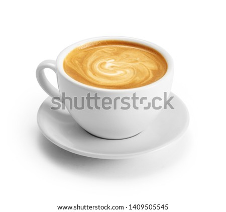 Cup of coffee latte isolated on white backgroud with clipping path #1409505545