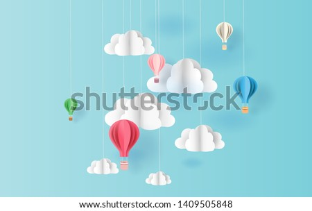 paper art style of balloons colorful color floating in air blue sky background.Creative design space for Christmas day,Festival,holiday,summer season,springtime.Good idea Pastel color.vector EPS10  #1409505848