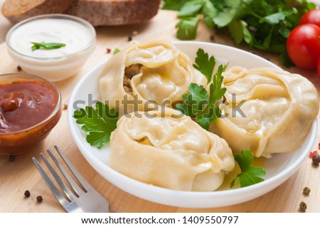 Manti or manty dumplings, popular asian dish, great image for your needs. #1409550797
