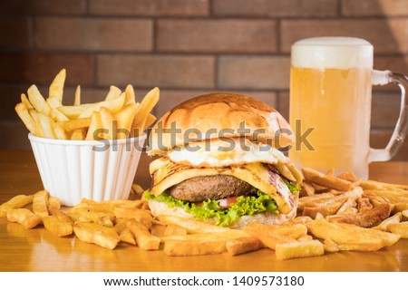 Hamburger French Fries and Cold Beer