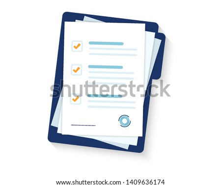Contract papers. Document. Folder with stamp and text. Stack of agreements document with signature and approval stamp.  #1409636174