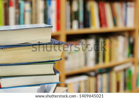 Stack of books in library #1409645021