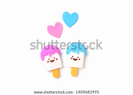 ice cream toy and hearts on white background. cute kawaii cartoon character. symbol of love, childhood, summer, vacation. top view, copy space