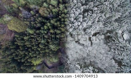 winter and summer images split in half and merged together two seasons