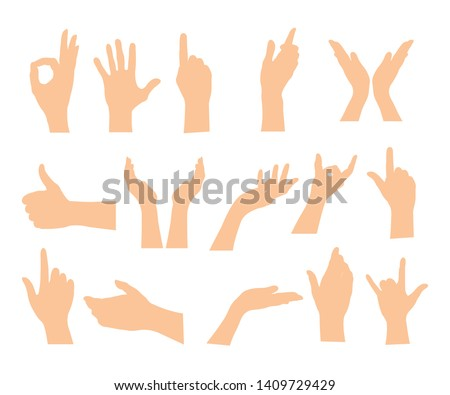 Set of hands showing different gestures isolated on a white background. Vector flat illustration of female and male hands . Isolated flat vector illustration #1409729429