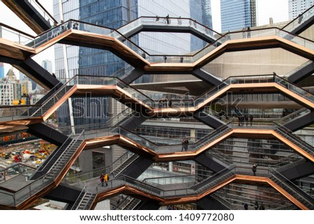 NEW YORK, US - APRIL 29, 2019:  The Vessel, new tourists attraction in  Hudson Yards Redevelopment Project area. View from inside. #1409772080