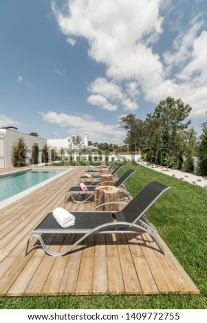 Modern villa with pool and deck with interior #1409772755