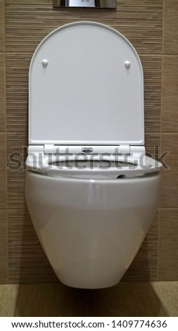 Toilet bowl in the toilet. Toilet in the toilet, view from the top #1409774636