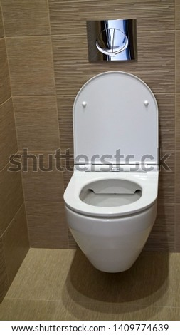Toilet bowl in the toilet. Toilet in the toilet, view from the top #1409774639