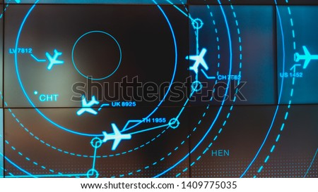 Simulation screen showing various flights for transportation and passengers. Royalty-Free Stock Photo #1409775035