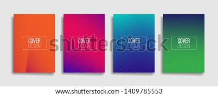 bright gradient color abstract line pattern background cover design. modern background design with trendy and vivid vibrant color. blue violet red orange green placard poster vector cover template. #1409785553
