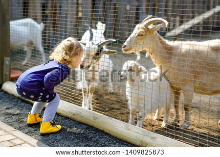 Adorable cute toddler girl feeding little goats and sheeps on a kids farm. Beautiful baby child petting animals in the zoo. Excited and happy girl on family weekend. #1409825873