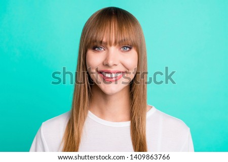 Portrait of pretty elegant girlish lady feel glad enjoy weekend rest relax smart clever intelligent wear modern fashionable clothing isolated turquoise background #1409863766
