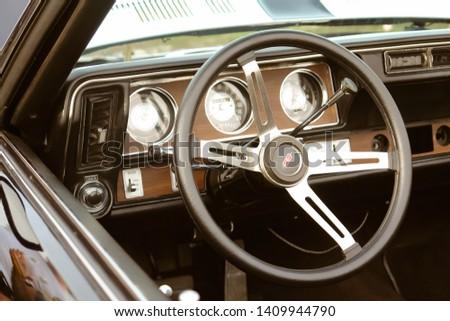 Moscow, Russia - May 25, 2019: Black Chevrolet Camaro Z28 1977 350 interior of retro car #1409944790