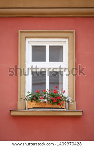 A beautiful red flower is standing on the window of the house #1409970428
