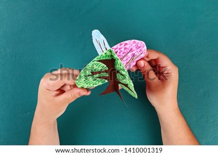 Diy paper tree four seasons summer, autumn, winter, spring. Tree 4 season. Childrens creativity. Gift idea, decor. Step by step. Top view. Process kid children craft Workshop