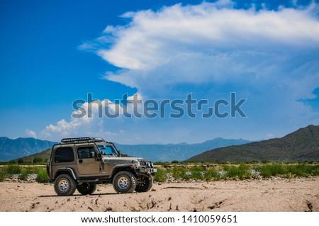 Coahuila, Mexico. Augost 7, 2010. Jeep rubicon in a desert in Mexico. #1410059651