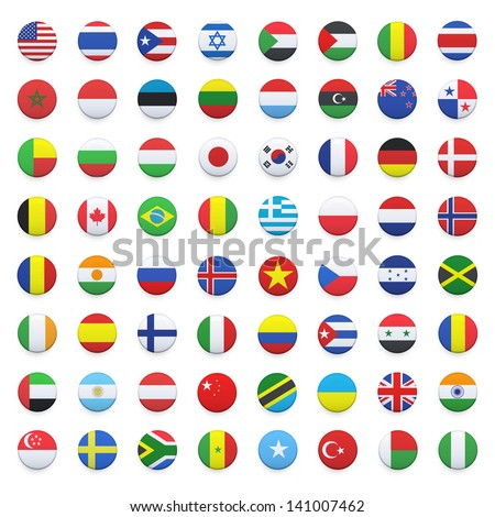Collection of flag button design. Vector design. #141007462