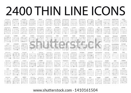 Set of 2400 modern thin line icons. Outline isolated signs for mobile and web. High quality pictograms. Linear icons set of business, medical, UI and UX, media, money, travel, etc. Royalty-Free Stock Photo #1410161504