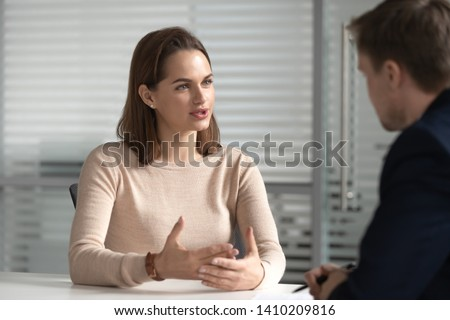 Female job applicant bank manager talk to hr consult client at interview meeting, confident seeker broker speak to customer make business offer, recruit, human resource, hiring negotiation concept #1410209816
