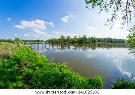 Odra river during the spring time Royalty-Free Stock Photo #141025606