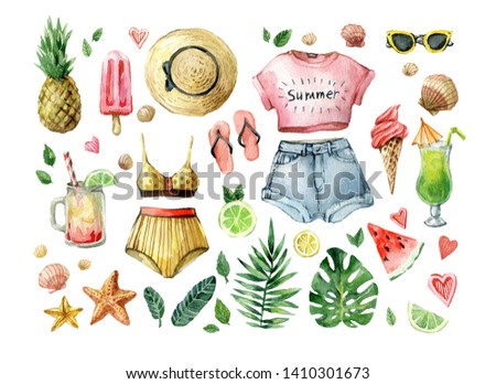 Watercolor summer set with palm leafs, exotic fruits, ice cream, cold drinks, watermelon and summer clothes. Hand drawn vintage clip art. Exotic fresh collection isolated on white background