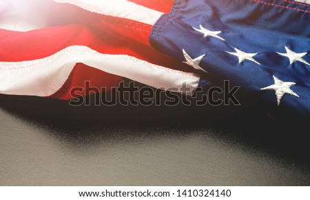 MEMORIAL DAY and USA flag on gray background. Honoring all who served          - Image #1410324140