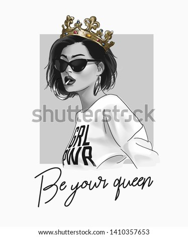 typography slogan with girl in clown and sunglasses illustration Royalty-Free Stock Photo #1410357653