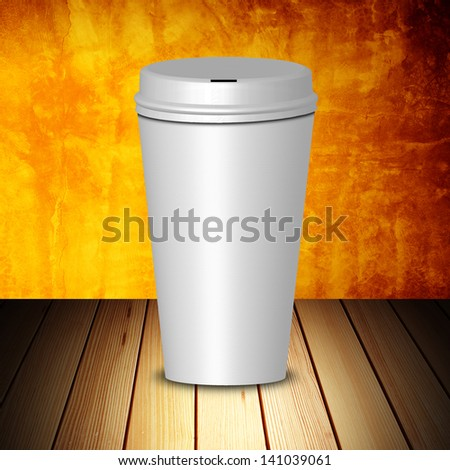 Take away coffee cup on wood table and grunge background #141039061