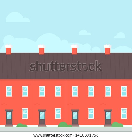 Terraced House. Real estate clipart image