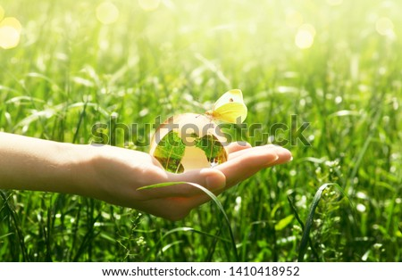 Earth glass globe and butterfly with yellow wings in human hand on green grass background. Saving environment concept. #1410418952