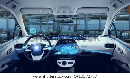 Parking assistant system concept. Autonomous car. Driverless vehicle.