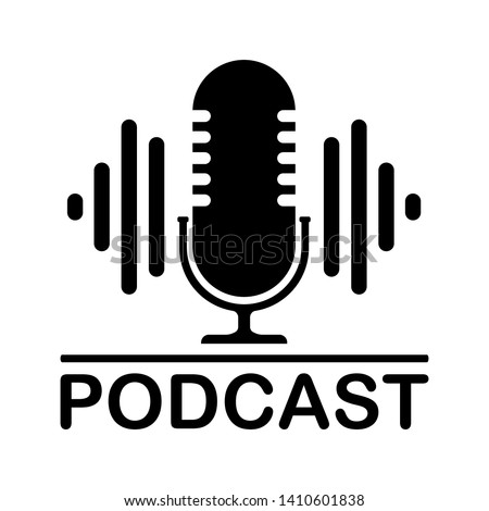 The microphone icon in a fashionable flat style is isolated against the background. Logo, application, user interface. Podcast radio icon. Studio microphone table broadcast podcast text.