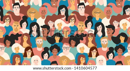 Vector seamless pattern with young men and women with different skin color. Design element. Royalty-Free Stock Photo #1410604577