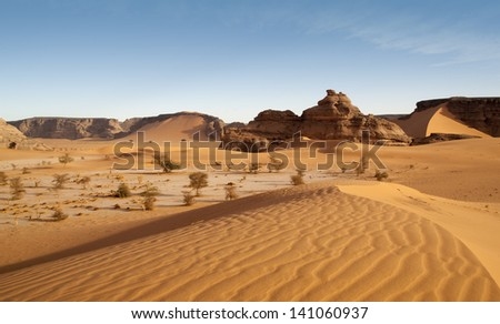 The Libyan desert - a fantastic place for travelers and photographers. Beautiful structure of dense yellow sand, dune of the huge sizes and deep sky of Sahara. #141060937